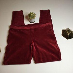Hue maroon skinny corduroy leggings